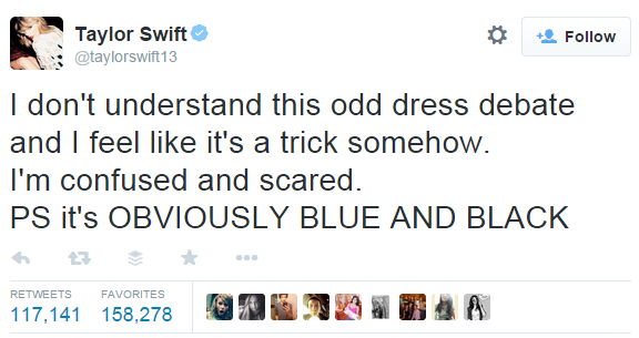 taylor swift tweet on the dress