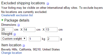 ebay calculated shipping package settings