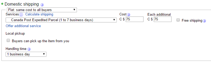 ebay fixed shipping settings
