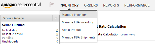 amazon manage inventory menu
