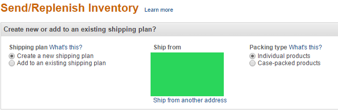 create new fba shipping plan