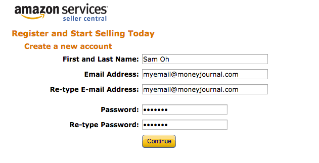 create amazon seller account