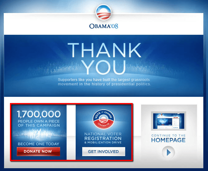 obama's thank you page