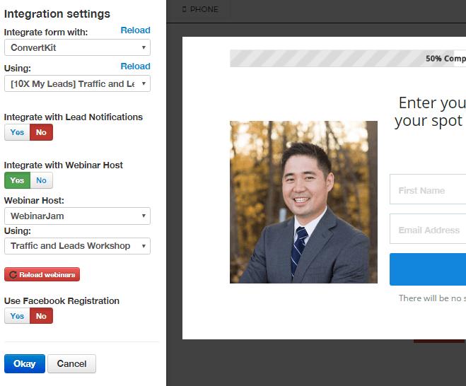 leadpage integration settings