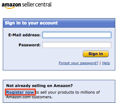 amazon seller registration