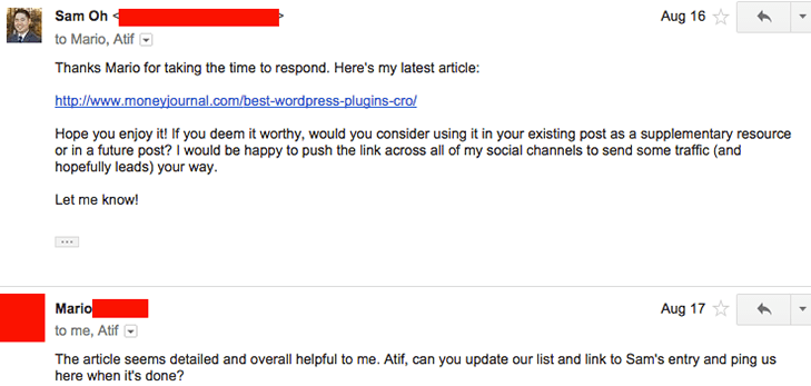 successful outreach email