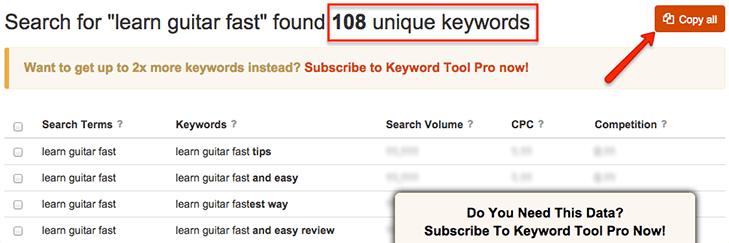 keywordtool.io results