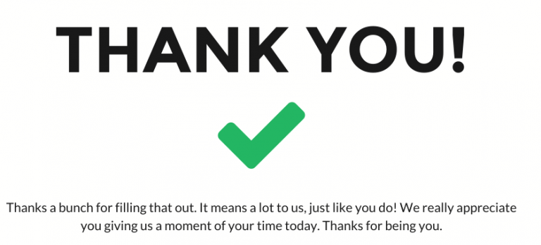 default thank you page template