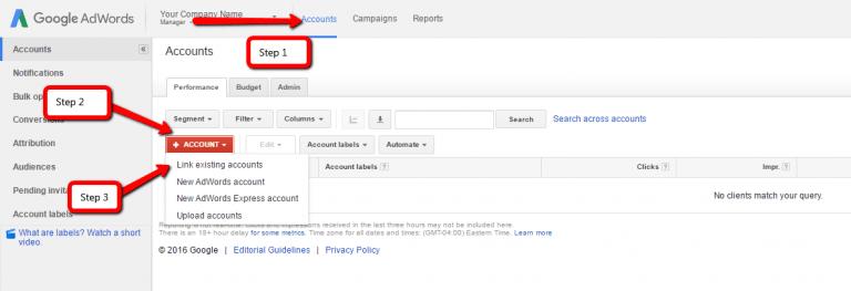 link adwords accounts