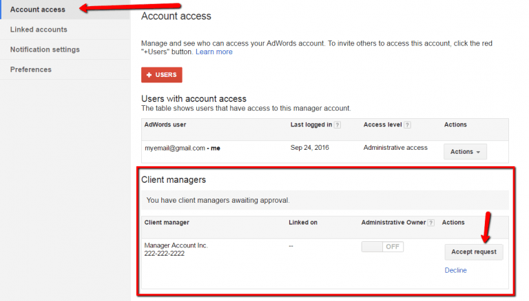confirm manager account access