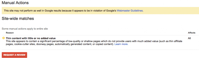 google-manual-action-error-message