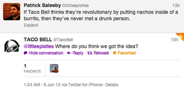 A great example of Taco Bell (B2C) building relationships on twitter despite their large following