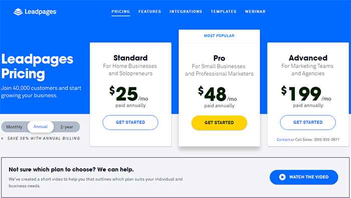 leadpages pricing annual