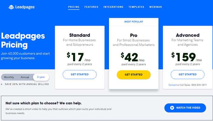 leadpages pricing bi-annual